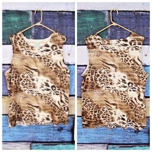 Laura Ashley Leopard Tiered Ruffle Stretch Shell